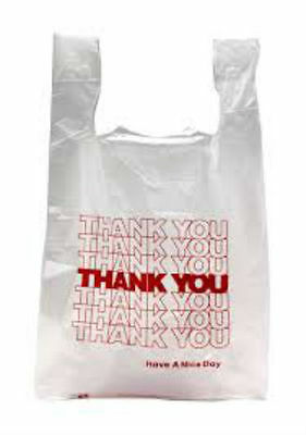 Thank You T-shirt Bags 11.5 X 6 X 21 White Plastic Shopping Bags