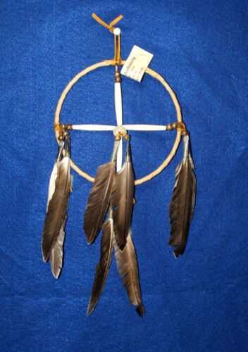 """Authentic Native American Medicine Wheel 6"""" hoop Natural Feathers New"""
