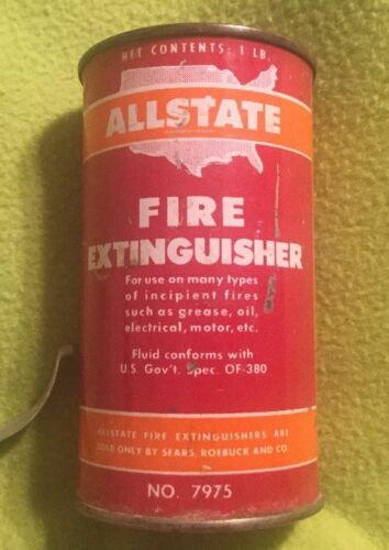 Vintage ~ Fire Extinguisher ~ ALLSTATE ~ Can ~ No. 7975 ~ Bracket ~ 1950'