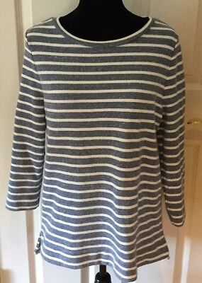 Lou & Grey Pullover Sweatshirt Top Striped blue ivory zipper slit tunic M NEW