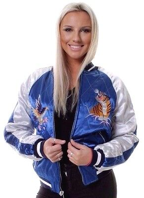 WOMENS Oversized BOMBER JACKET Reversible  Satin Embroidered Quilted Coat 6-16
