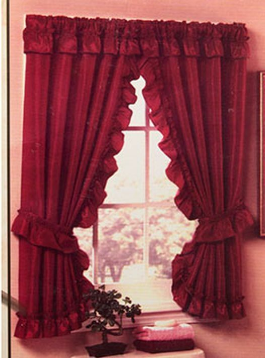 "PINK DOUBLE SWAG BATHROOM WINDOW CURTAINS SET,  70""x45"" by R"