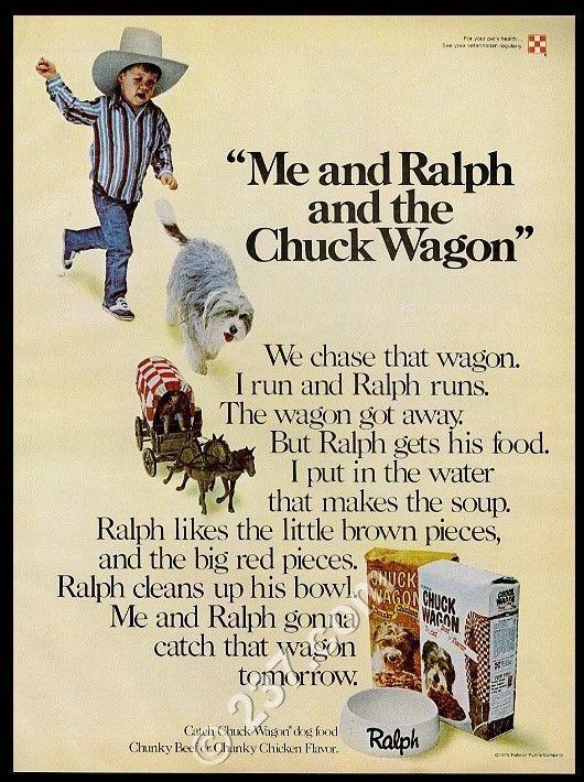 1975 Bearded Collie chasing little covered wagon Chuck Wagon dog food print ad