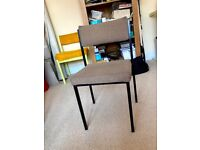 Useful ex office chair for upcycling –black metal frame with fabric covered back rest & seat £6