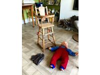 Vintage original wooden toy replica high chair and doll. From around 50's or 60's. £12