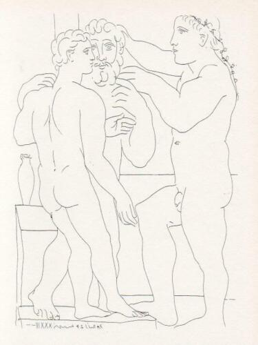 Pablo Picasso, Young Greek Sculptor with His Sculpture A Man and an Ephebe, 1956