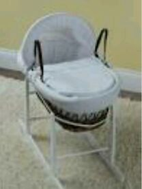 Kinder valley white Waffle with Bows Dark Wicker moses basket with FREE Rocking stand. Brand new .