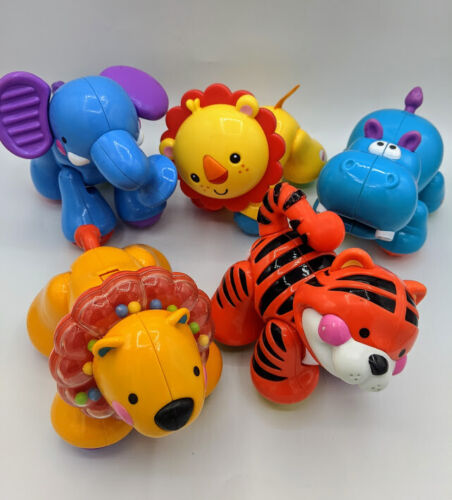 (5) Lot Fisher-Price Amazing Animals Zoo Click Clack Elephant Lion, Tiger, Hippo