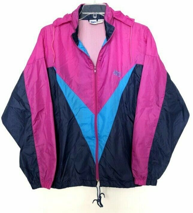 Vintage Asics Wind Breaker Jacket Tracksuit Purple and Blue Adult Size XLarge