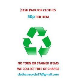 CASH FOR CLOTHES. 50P PER ITEM