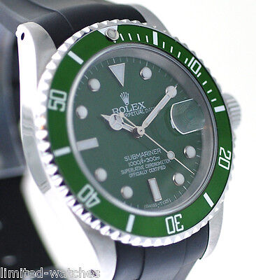 Rolex 16610 Submariner Watch  Mens,With Green Dial & Green Bezel, On Black Strap