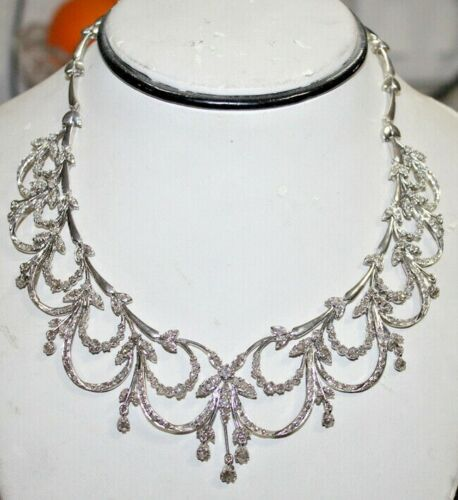 10.78ct Rose Cut Diamond Antique Victorian Look 925 Silver Necklace