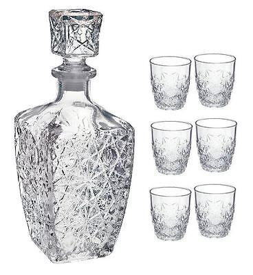 Bormioli Rocco Dedalo liqueur / Spirit Decanter (780ml) / 6 Glasses Set (85ml)