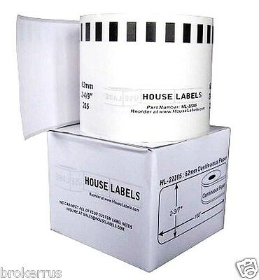 White Thermal Label Roll 100 Ft Brother Compatible Dk-2205 Ql-570 Labels Hl22205