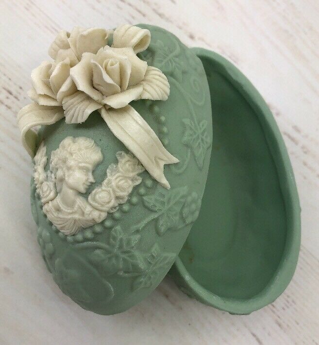 Vintage Green Easter Egg Box Cameo Lid