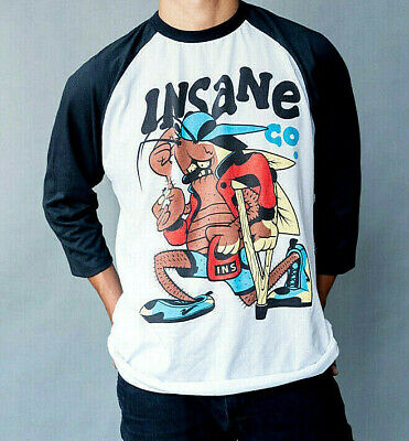 INSANE CLOTHING LA CUCARACHA 420 BASEBALL RAGLAN MENS TEE LUCKY BASTARDS MOTA