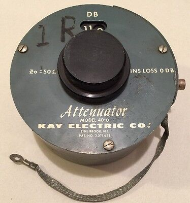 KAY ELECTRIC CO. ATTENUATOR MODEL 40-0 433A 50 OHMS 0-119 DB Range DUAL ROTARY