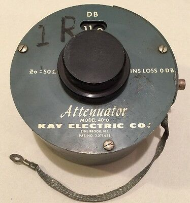 Kay Electric Co. Attenuator Model 40-0 433a 50 Ohms 0-119 Db Range Dual Rotary