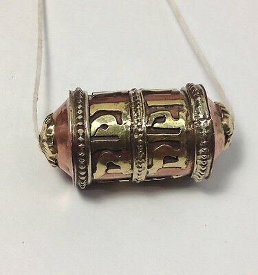 Tibetan Amulet Sanskrit Om Mani Padme Hum Herb Tube Prayer Bead Pendant