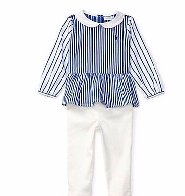 Ralph Lauren Two Piece Infant Baby Girl Striped Top Legging Set 3 Months NWT