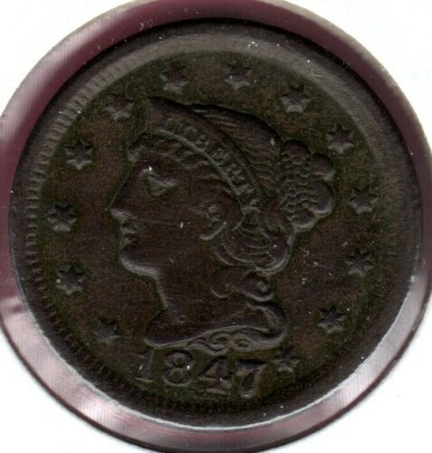 1847 BRAIDED HAIR LARGE CENT GRADES EXTRA FINE NICE!!! #C3632