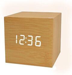 Digital Alarm Clock, Wood LED Light Mini Modern Cube Clock W/ Temp & Date Displa