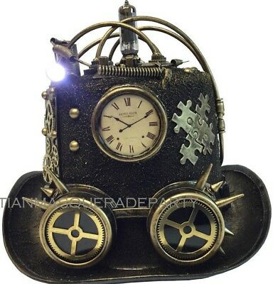 Male Steampunk Costumes (Clock goggles Male Steampunk Light up Top Hat Costume Burning Man Midnight)