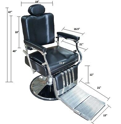 Professional Classic Barber Chair Reclinging Black Heavy ...