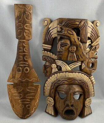 2x Vtg Antique Wooden Carved Mask Aztec Mayan Wall Hanging Artefact Totem