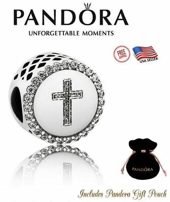 Authentic Pandora Faith Cross Bracelet Charm Bead Silver S925 ALE #ENG792016CZ-2