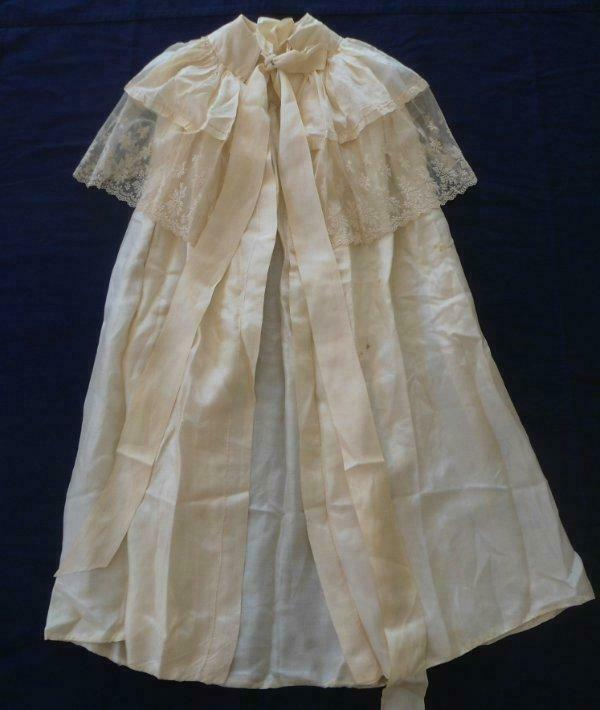 Antique Baby Silk Christening Cape Embroidered Net Lace Flounce Doll Coat Ecru