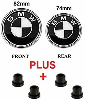 Roundel Set of 2 BMW Black & Silver Hood and Trunk Emblem Logo Replacement Hood