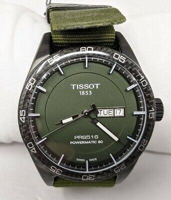 NEW Tissot PRS 516 Green Dial Carbon Fiber Bezel NATO Automatic Swiss Watch RARE