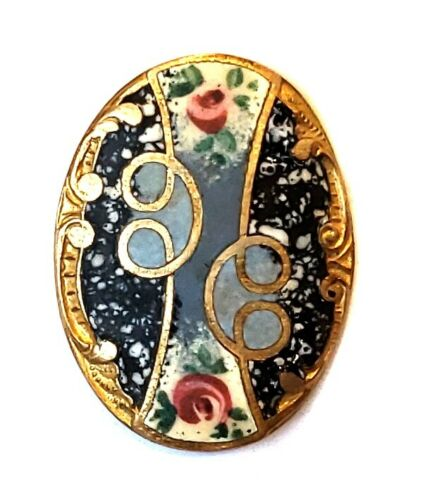 Antique Button… Matte Enamel Oval with Spatter & Pink Roses