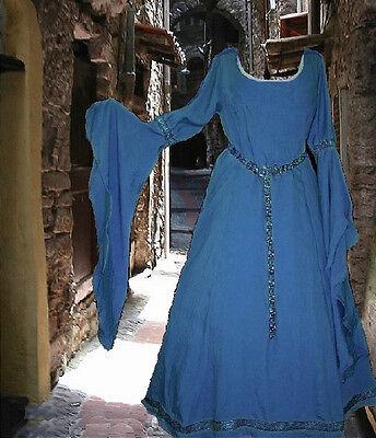 Renaissance Fantasy Costumes (Costume Gown Medieval Renaissance Fantasy SCA Garb Cadet Blue Cotton LOTR L)