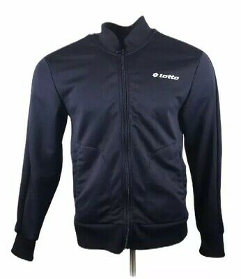 Vintage LOTTO Tracksuit Jacket Navy Blue Top Full Zip Spell Out Men's Medium
