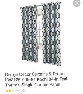 Two turquoise and white curtain panels -blackout