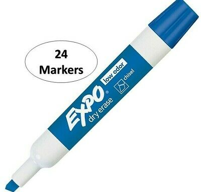 Expo Chisel Dry Erase Markers For Whiteboards 80003 Blue 24 Count