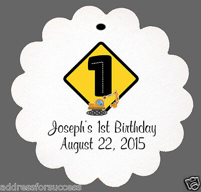 Construction Themed Birthday Parties (24 Personalized Construction Themed Birthday Favor Scalloped Tags Party)