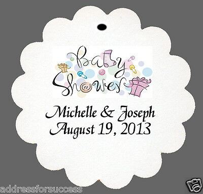 24 Personalized Baby Shower Favor Scalloped Tags Party Favors Baby Shower Favor Tags