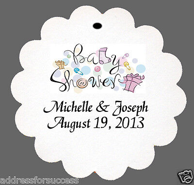 12 Personalized Baby Shower Favor Scalloped Tags Party Favors Baby Shower Favor Tags