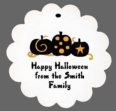 24 Personalized Halloween Colorful Pumpkins Party Scalloped Tags Party Favors