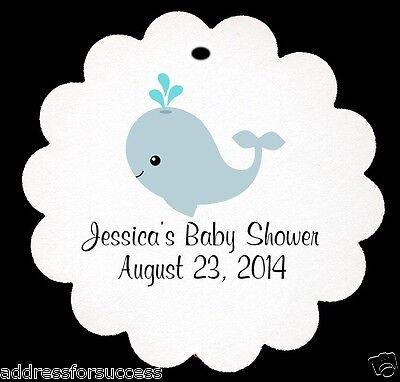 12 Personalized Baby Whale Baby Shower Scalloped Tags Party - Whale Party Favors