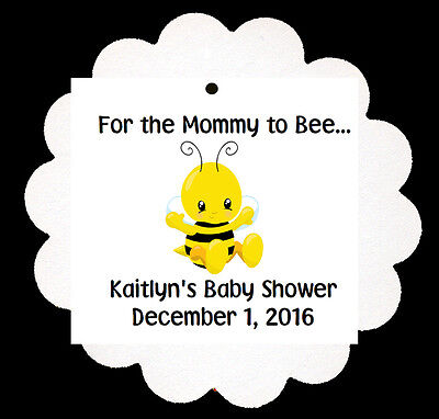 24 Personalized Baby Bee Mommy Baby Shower Theme Scalloped Tags Party Favors Baby Shower Favor Tags