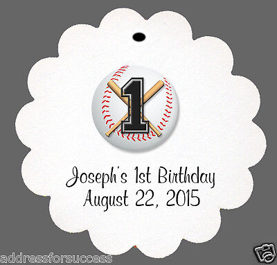 24 Personalized Baseball Themed Birthday Favor Scalloped Tags Party