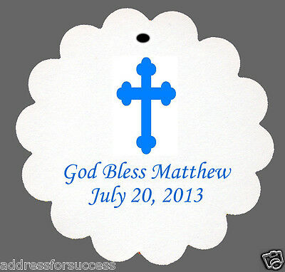 24 Personalized Baptism Cross Scalloped Tags Party Favors
