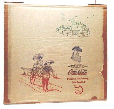 "GREAT FIND! 1904 COCA-COLA JAPAN/CHINA? SCENES RICE PAPER NAPKIN-13.5"" SQ-NICE"