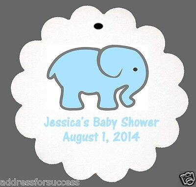 12 Personalized Baby Elephant Baby Shower Favor Scalloped Tags Party Favors Baby Shower Favor Tags