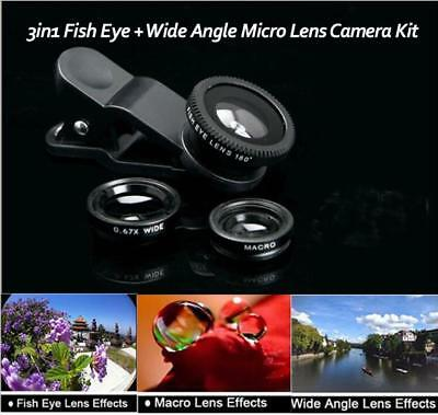 3 In 1 Mobile Phone Fish Eye + Wide Angle + Macro Camera kit Lens Universal