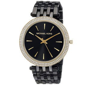MICHAEL KORS - Black IP Darci Watch with Goldtone Accents